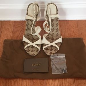 Gucci Classic White Sandals w/ Heels size 8.5